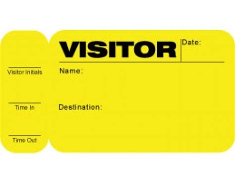 side sign out visitor pass id card with yellow background