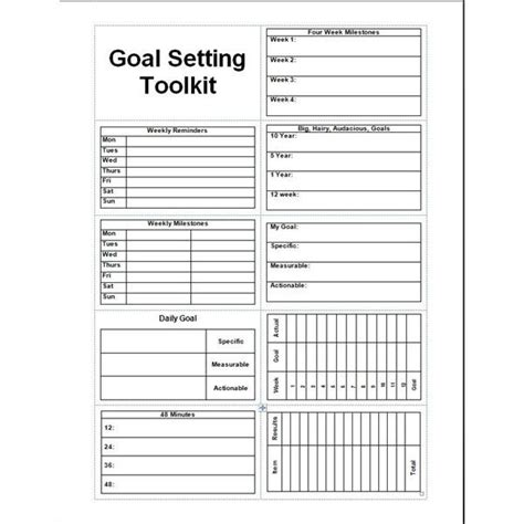 goal setting templates calendar template 2016