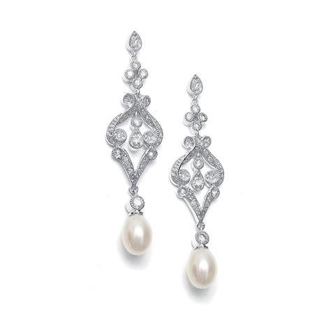 vintage style wedding earrings cz pearls