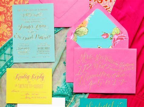 colorful wedding invitations eric s colorful gold foil calligraphy wedding