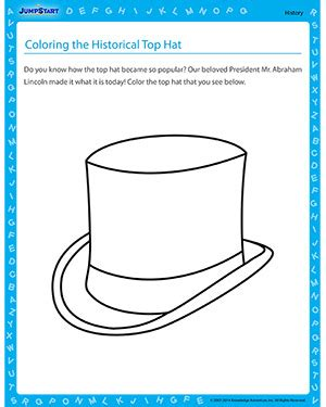 coloring the historical top hat free history worksheet