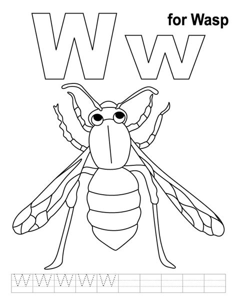 W Is For Web Coloring Page by W For Wasp Coloring Page With Handwriting Practice