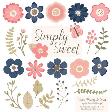 Navy Wedding Clipart by Navy Blush Flower Clipart Vectors