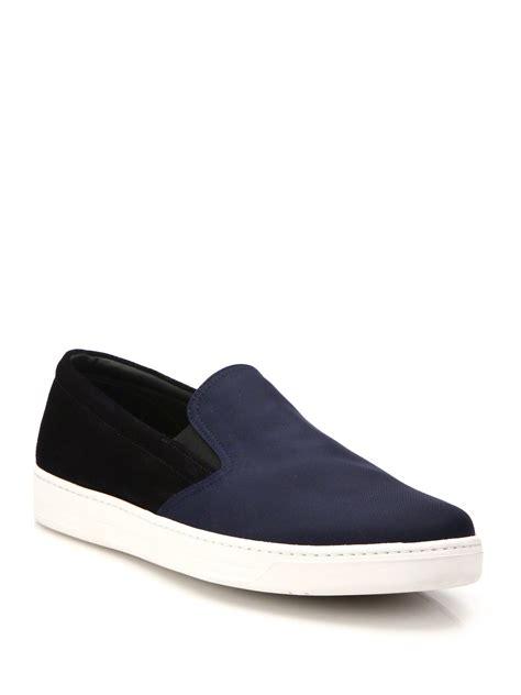prada sneakers blue prada suede slip on sneakers in blue for lyst