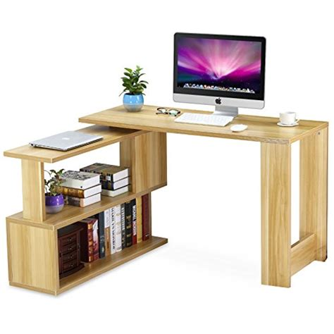 L Shaped Study Desk Tribesigns Modern L Shaped Desk Rotating Computer Desk Pc Laptop Study Table Workstation With
