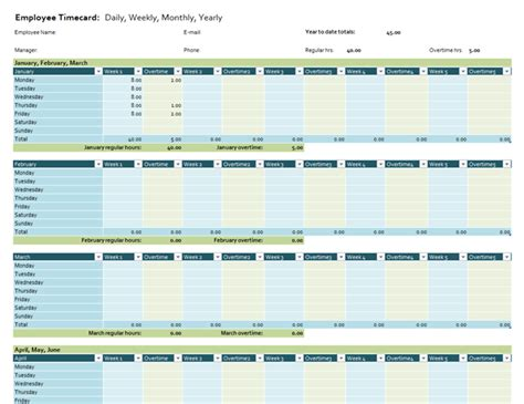 yearly time card template planners and trackers office