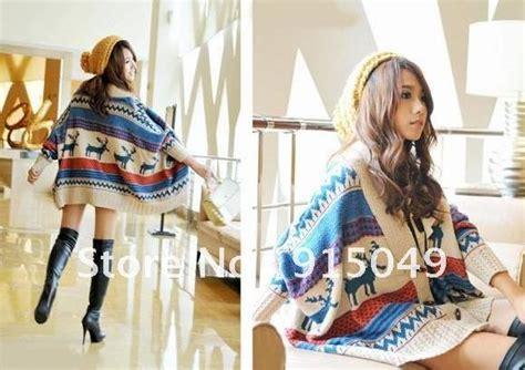Moon Tribal Rajut Sweater Atasanblusetopsweater Knitting bohemian tribal oversized knit bat sleeve stripe sweater coat knitwear cardigan in cardigans