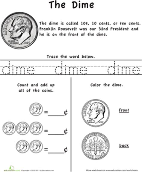 kindergarten activities money learn the coins the dime worksheet education com