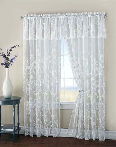 Attached Valance Curtains malta floral embroidery matte sheer with attached valance window curtain panel ebay