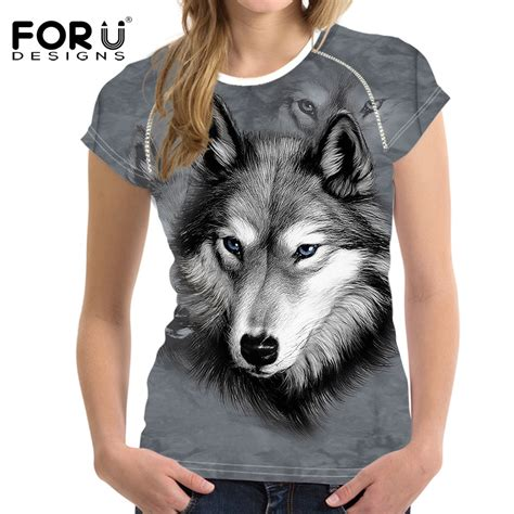 Wolf T Shirt Meme - forudesigns 3d wolf pattern funny t shirt women fashion