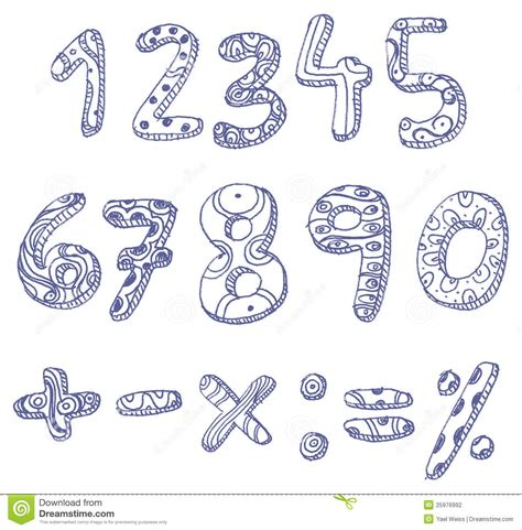 doodle maths sign in doodle numbers and math signs stock vector image 25976992
