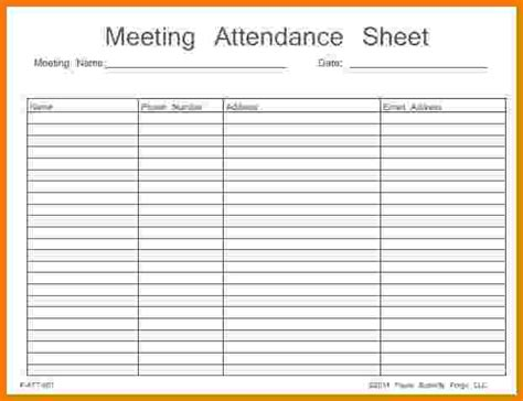 meeting attendance template na meeting attendance sheet printable pictures to pin on