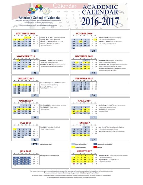 Academic Calendars Academic Calendar American School Of Valencia