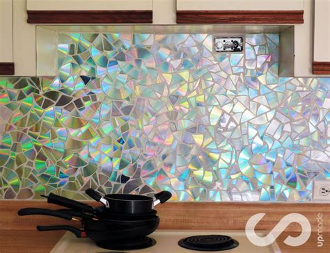 kitchen backsplash diy ideas how to use cds for mosaic craft projects diy