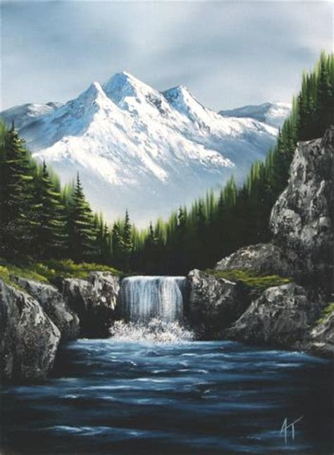 bob ross painting a waterfall pin bob ross winter paintings image search results on