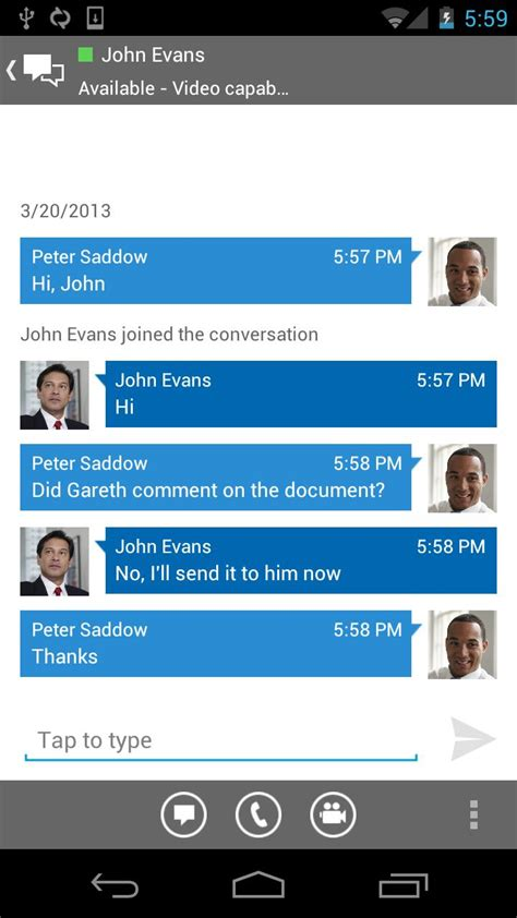 chat layout in android exle microsoft releases lync 2013 for android brings holo to