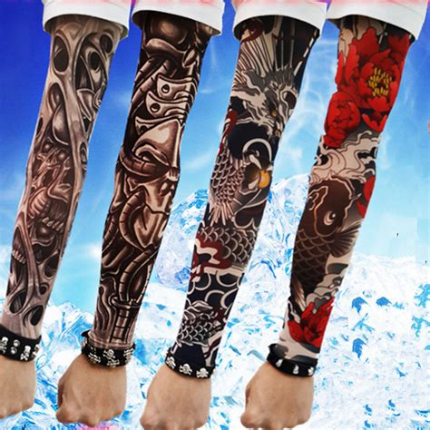 tattoo arm warmers long sleeve fake tattoo clibe bicycle beach tattoo arm