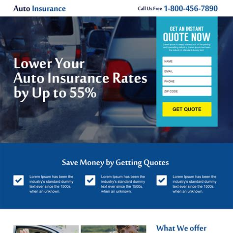 Instant Car Insurance Quote by Auto Insurance Landing Page Design To Capture Leads And Sales