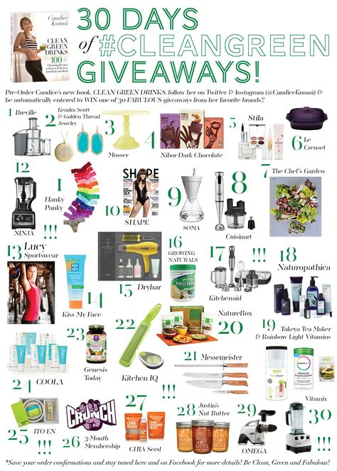 Green Giveaways - 30 days of clean green giveaways candice kumai
