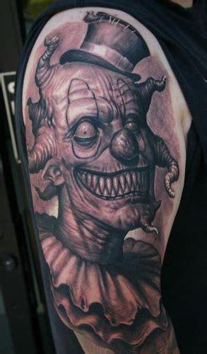Creepy Evil Clown Tattoo On Shoulder Best Tattoo Ideas Tattoos Of Evil Clowns