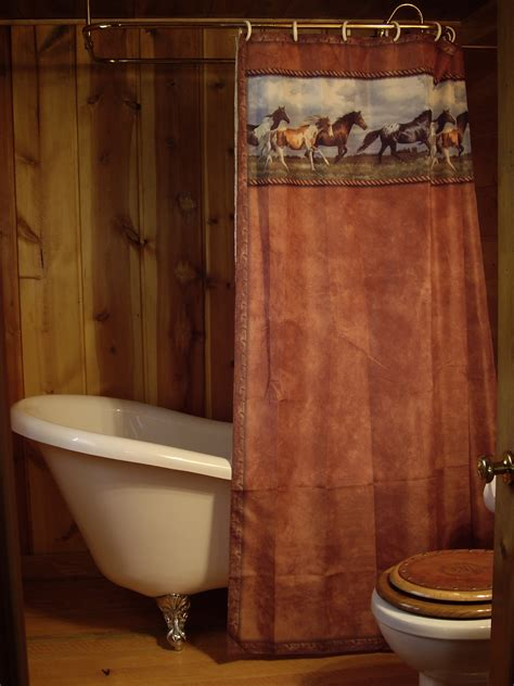 shower curtain surround bathroom western ranch brown fabric curtain with hung