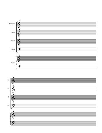 printable sheet music templates blank choral sheet music satb 4 line and piano