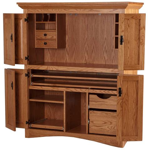 Solid Oak Computer Armoire Office Cabinet With Doors Solid Wood Computer Armoire Armoire Style Computer Desks Interior