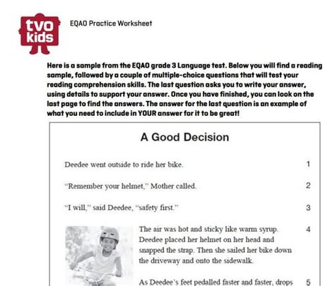 printable eqao practice sheets grade 3 eqao grade 3 worksheet sle reading question from