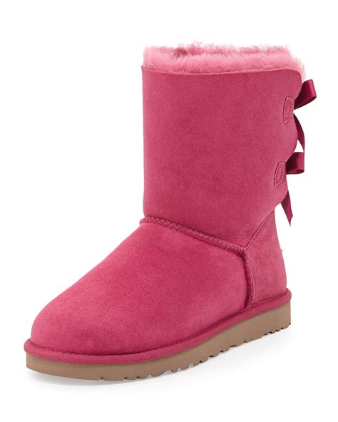pink ugg boots with bows ugg bailey bow back boot in pink pink lyst