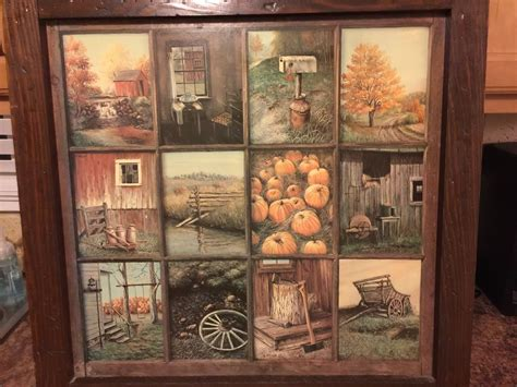 vintage homco home interior interiors window pane picture fall scenes b mitchell ebay