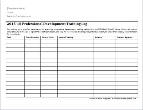 training log template document templates