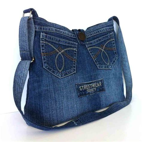 blue jean purses patterns crossbody purse recycled denim bag upcycled jean by
