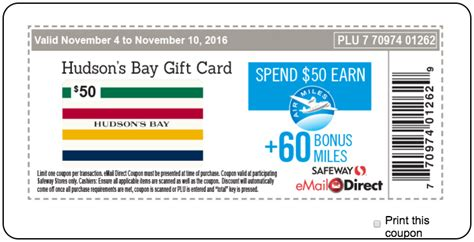 Gift Card Balance Sobeys - safeway sobeys canada weekly coupons 60 bonus air miles when you spend 50 on hudson