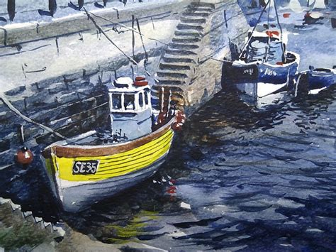 fishing boats for sale brixham brixham harbour and trawlers original watercolours by
