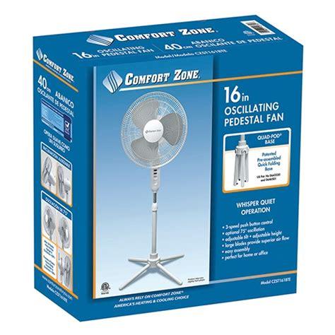 comfort zone shop comfort zone 16 quot oscillating pedestal fan white my