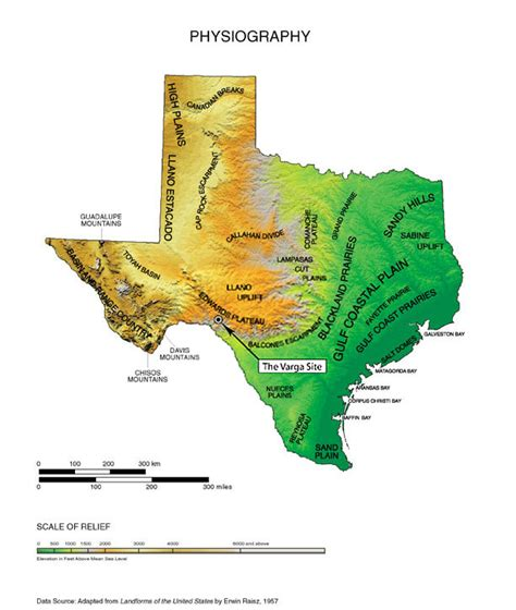 map of texas landforms physical map