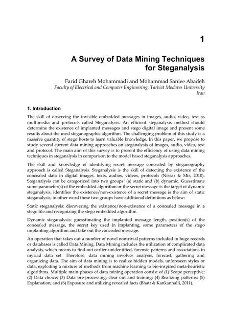 (PDF) A Survey of Data Mining Techniques for Steganalysis
