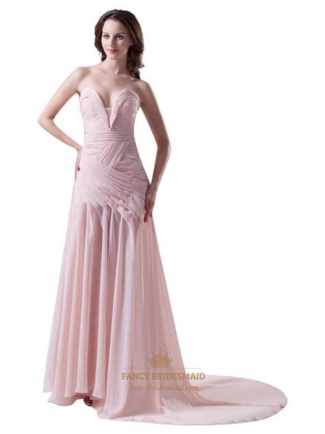 light pink chiffon dress light pink sweetheart embellished ruched sweep train