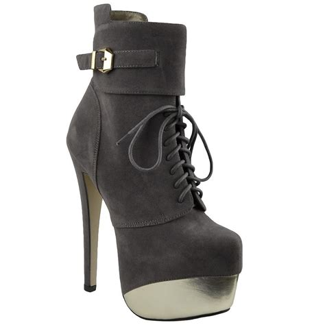 gray boots s two toned platform stiletto lace up high heel mid
