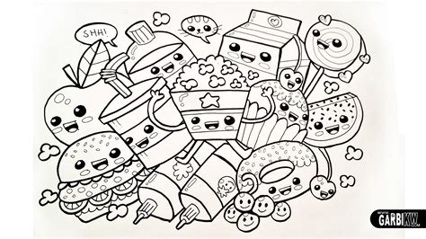 free coloring pages of kawaii foods