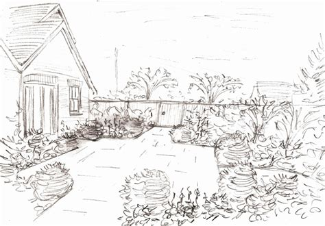 drawing of garden from the drawing board concept design sketches for a