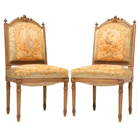 French Style Armchairs C 1880 Pair Of Louis Xvi Style Side Chairs 2 Pair