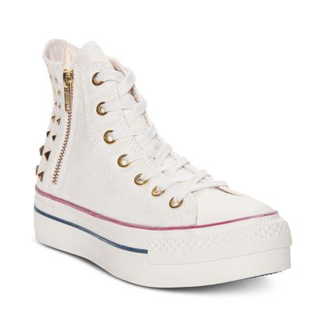 converse platform zip hi casual sneakers in white egret