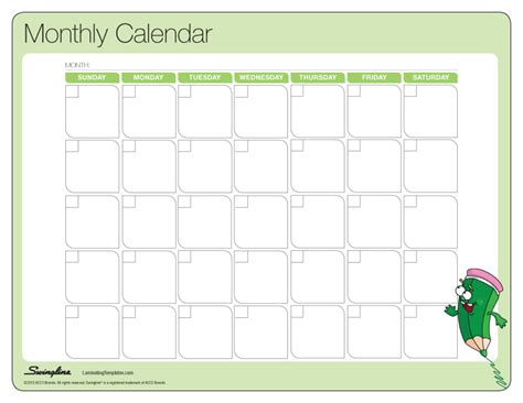 monthly calendar templates monthly calendar laminating templates