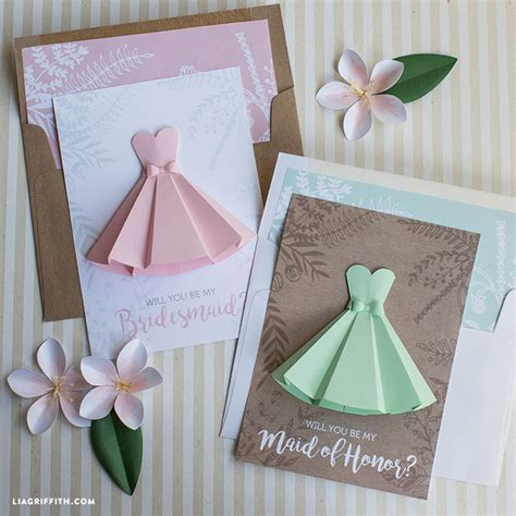 will you be my flower card template paper dress will you be my bridesmaid cards lia griffith