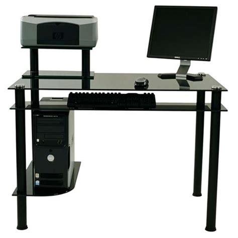 Rta Computer Desk by Rta Modern Black Glass Computer Desk With Hutch Black Ct 009b