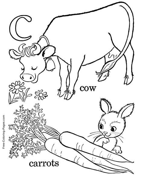 alphabet coloring pages c is for carrot