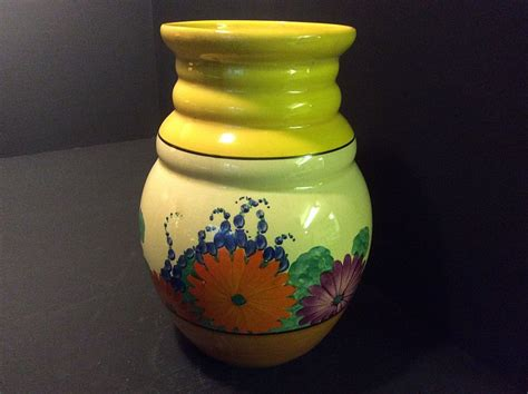 clarice cliff a gayday 358 shape vase with written