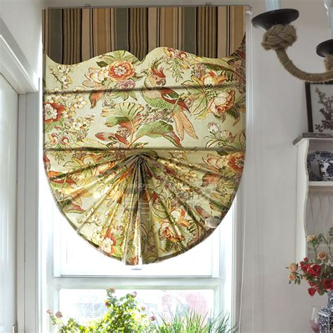 vintage pattern blinds vintage parrot pattern fan shaped roman shade fabric with