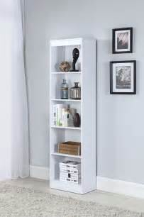 white 5 shelf narrow bookcase from coaster coleman furniture